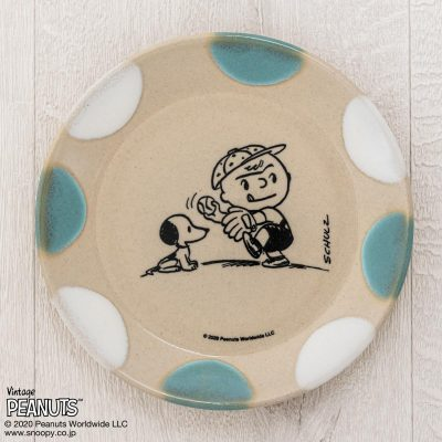 MASHICO プレート17cm PEANUTS [Baseball] ライトブルー/ホワイト